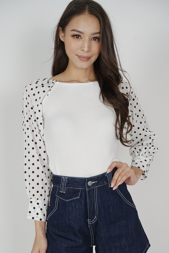 Mikey Sleeved Top in White - Online Exclusive