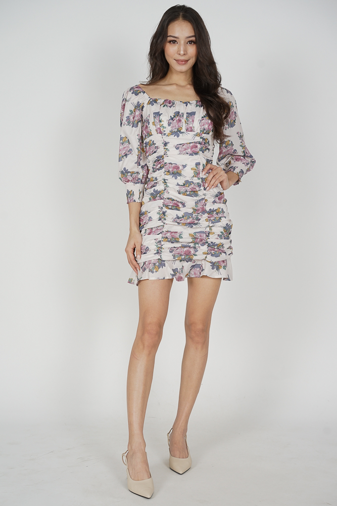 Bennia Ruched Dress in White Floral - Arriving Soon