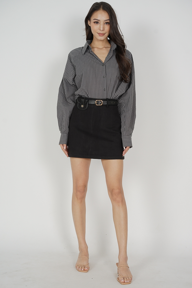 Kobey Collared Top in Grey - Online Exclusive