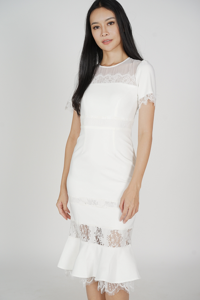 Beckyn Lace-Trimmed Dress in White