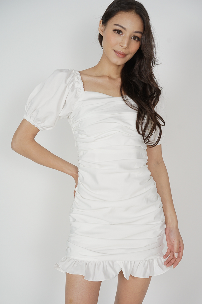 Lambi Ruched Dress in White - Arriving Soon