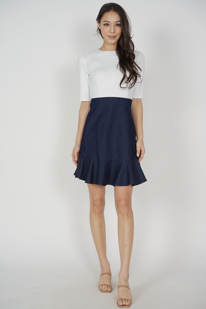 Pierrette Ruffled-Hem Dress in White Blue Denim - Arriving Soon