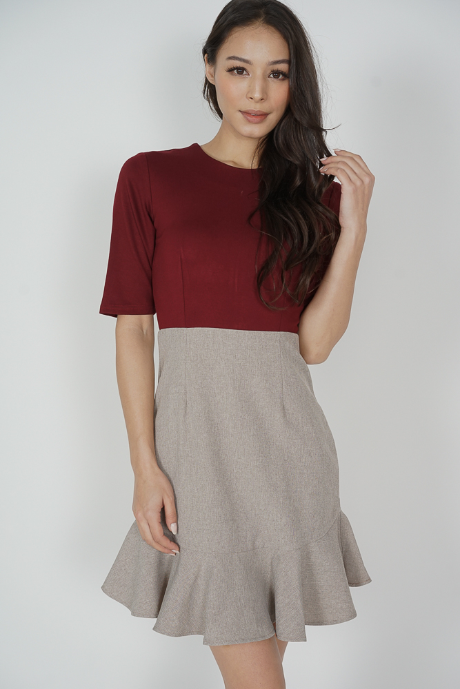 Pierrette Ruffled-Hem Dress in Maroon - Arriving Soon