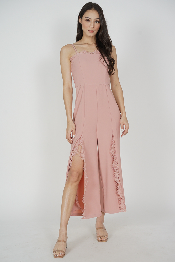 Rinda Lace-Trimmed Jumpsuit in Pink - Arriving Soon