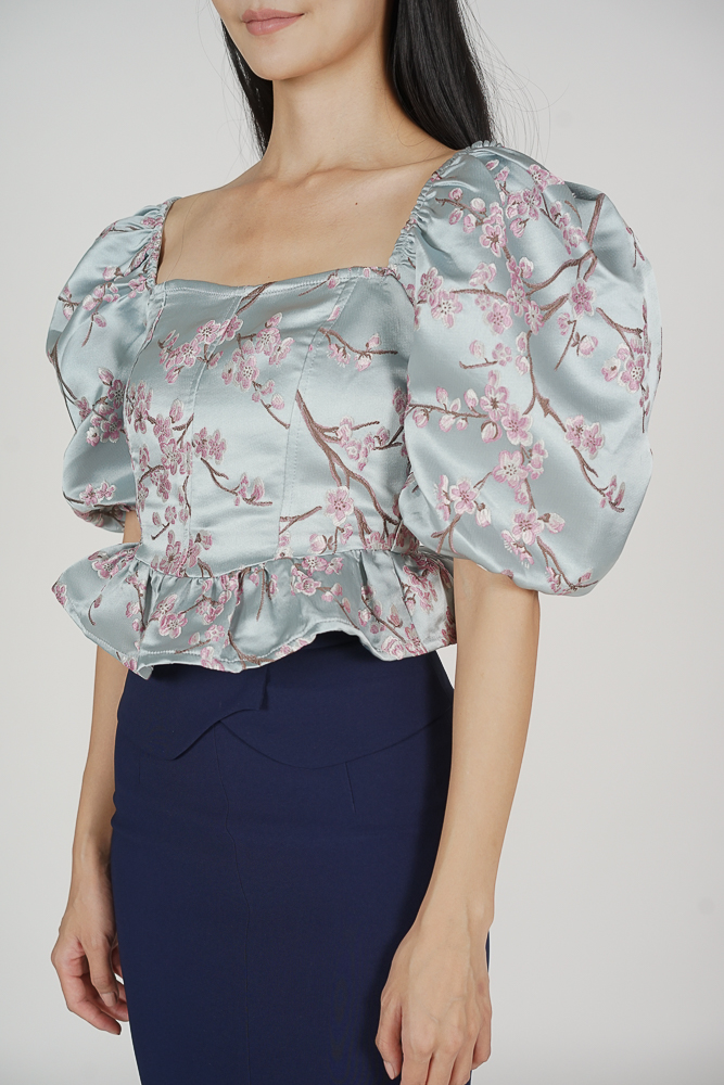 Yoshio Puffy Top in Blue Pink