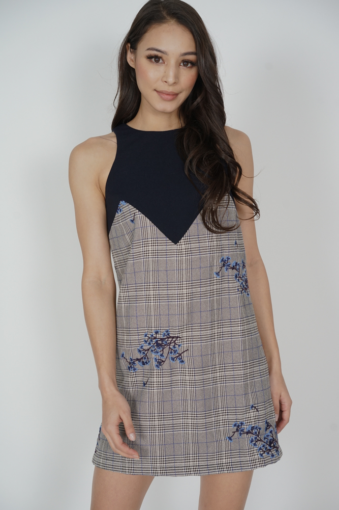 Bloom Shift Dress in Grey Checks