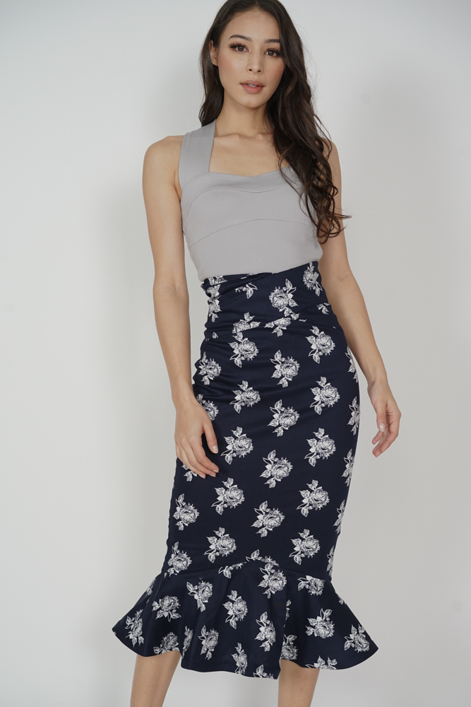 Abrie Flounce Mermaid Skirt in Midnight Floral - Arriving Soon