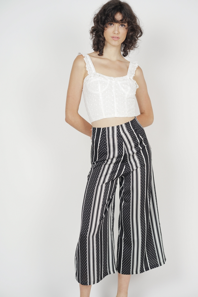 Landi Flare Pants in Black Polka Stripes - Online Exclusive