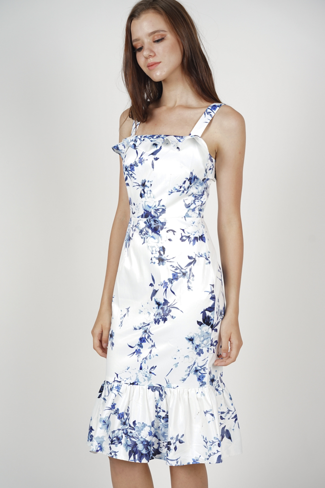 Perina Ruffled Dress in White Floral - Arriving Soon