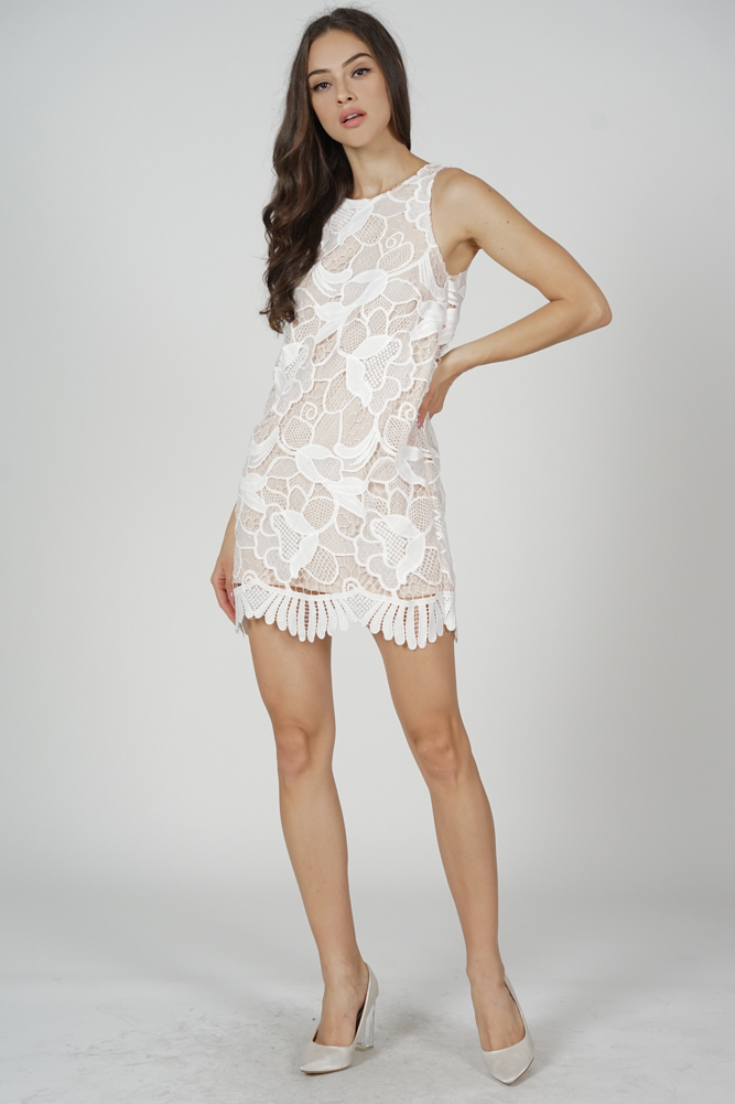 Eknia Lace Dress in White