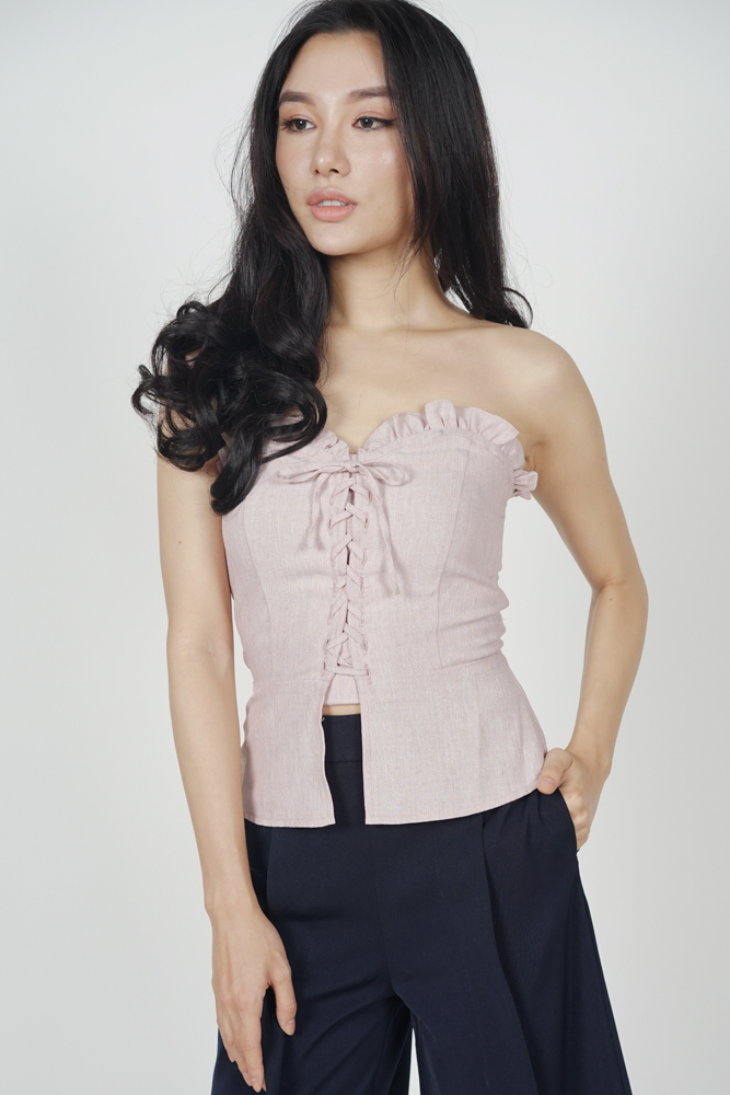 Miya Lace-Up Bustier Top in Blush