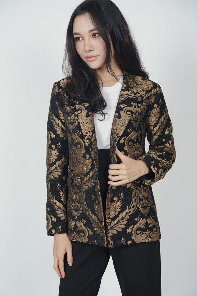 Mikhael Buttoned Blazer in Black - Arriving Soon