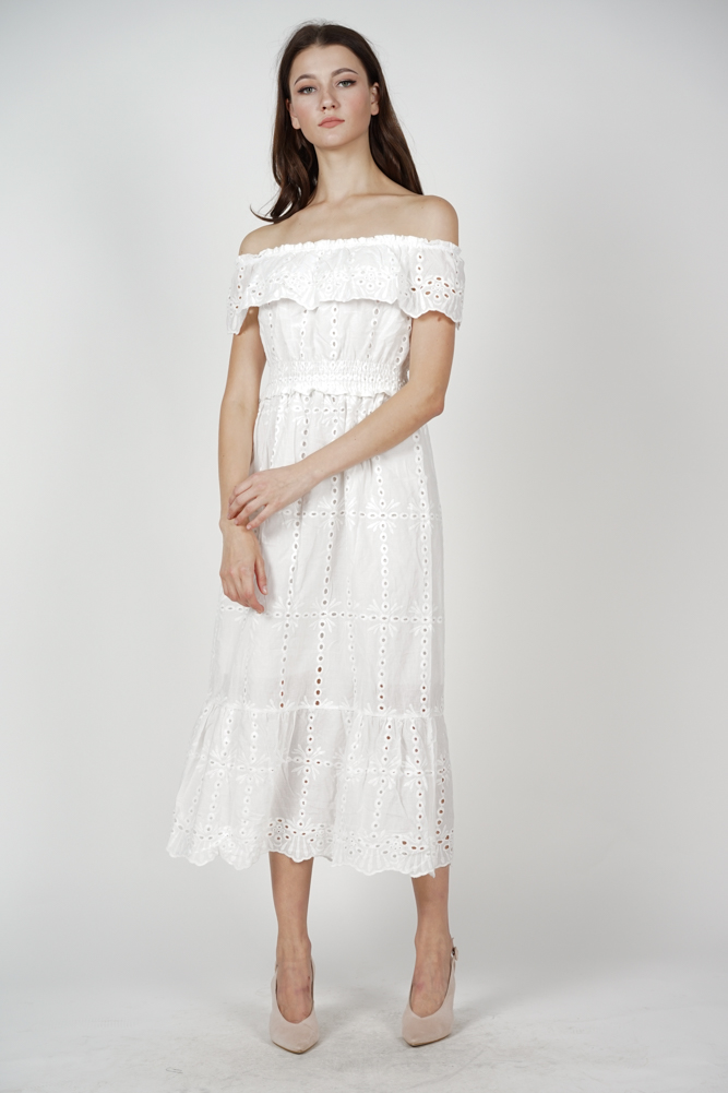 Mds Kleda Off Shoulder Crochet Dress In White Arriving Soon
