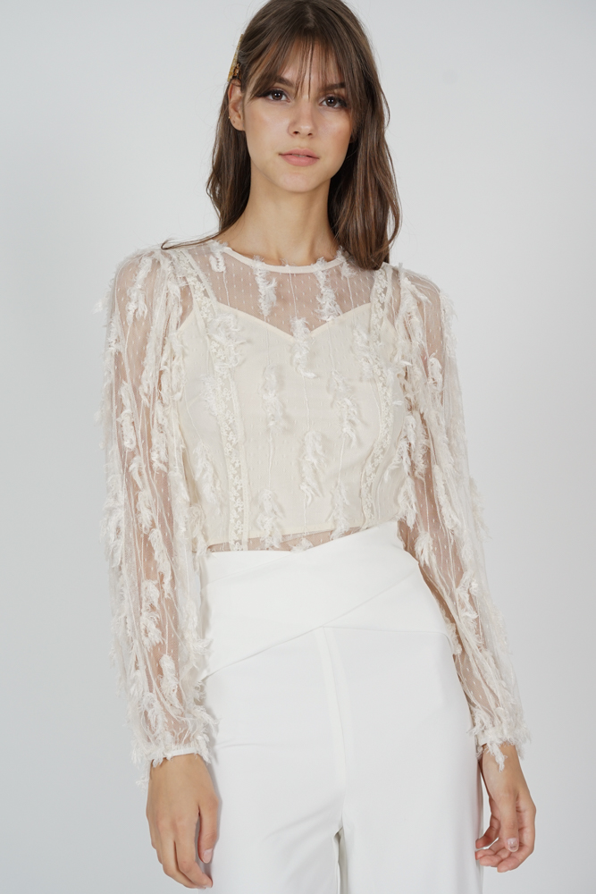 Kadie Sheer Fringe Top in Cream - Arriving Soon