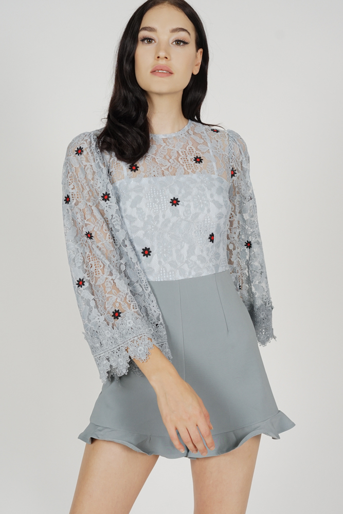 Rinda Lace Romper in Ash Blue Floral - Arriving Soon