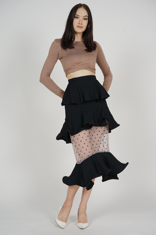 Amida Tiered Flounce Skirt in Black
