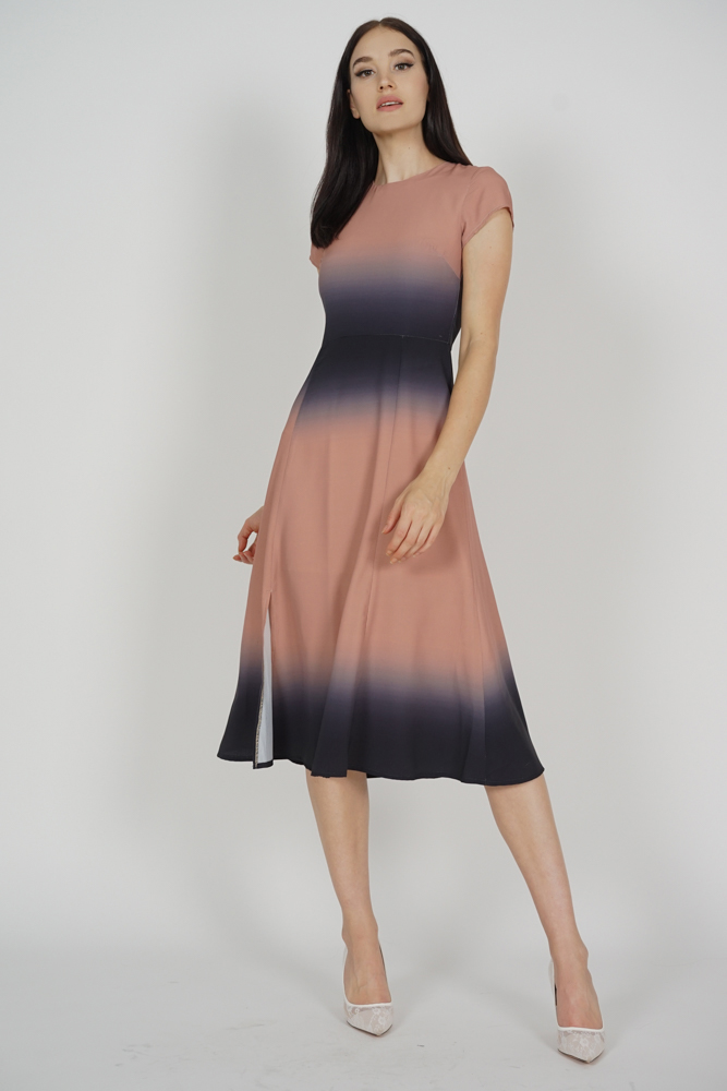 Blaire Ombre Dress in Black Nude