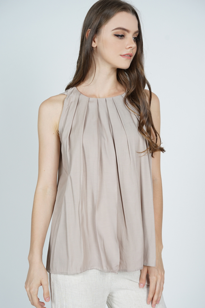 Maika Pleated Flare Top in Taupe - Online Exclusive