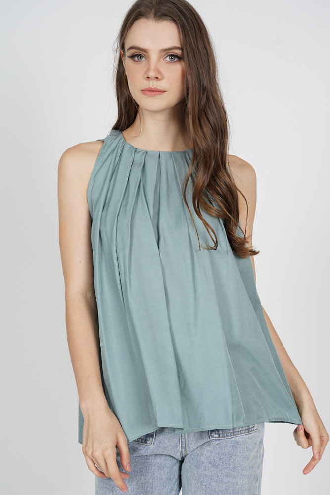 Maika Pleated Flare Top in Seafoam - Online Exclusive