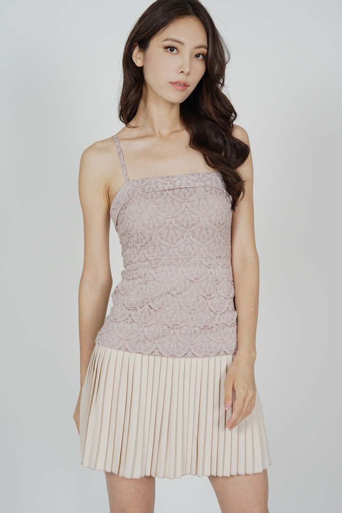 Sabra Pleated-Hem Lace Dress in Pink