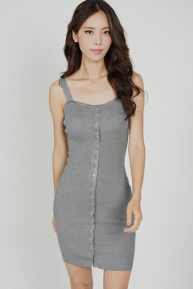 Adlay Buttoned Dress in Grey - Arriving Soon
