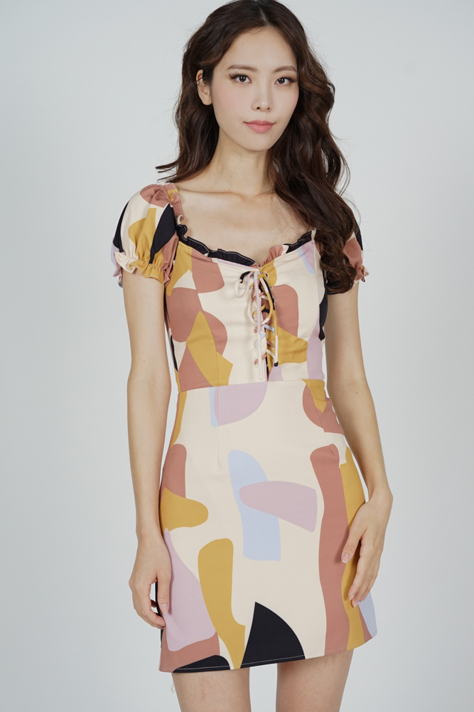 Mindy Lace-Up Dress in Beige Abstract - Arriving Soon