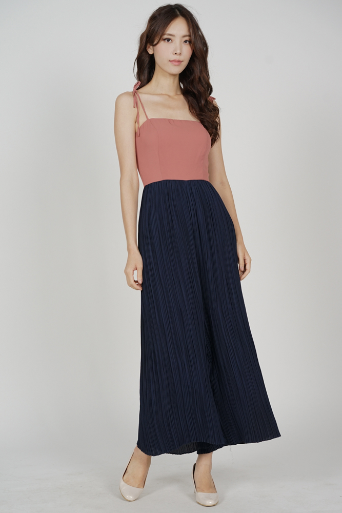Sanders Pleated Jumpsuit in Pink Midnight - Arriving Soon