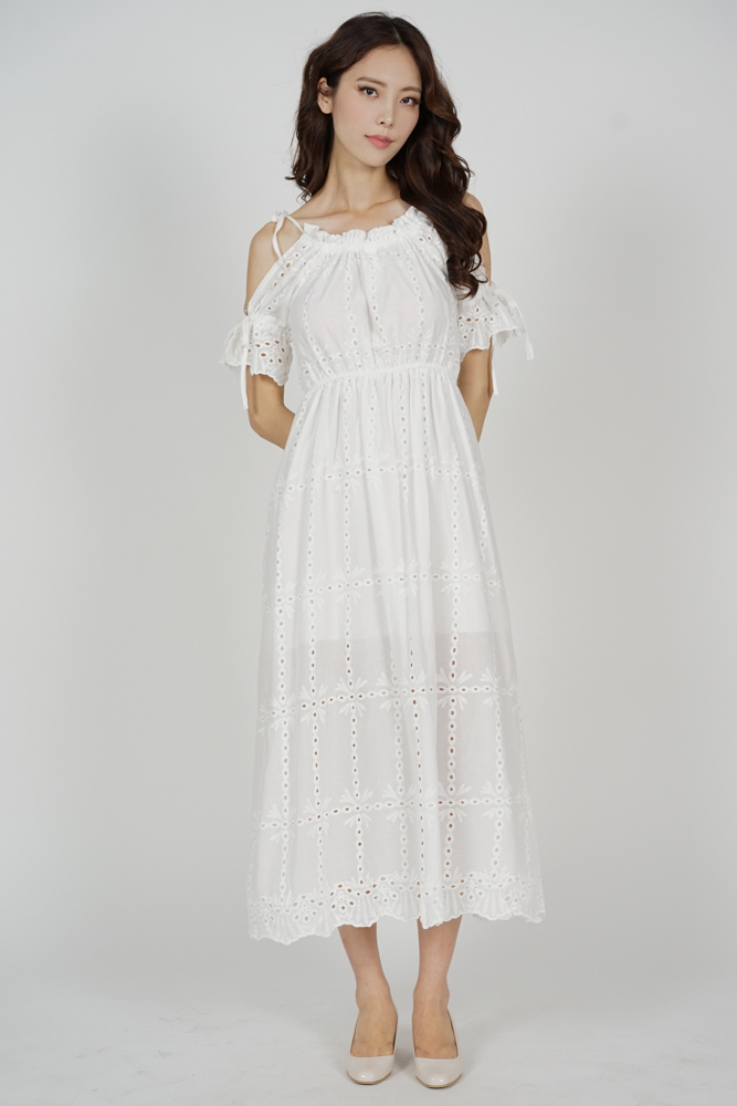 Janie Eyelet Dress in White - Online Exclusive