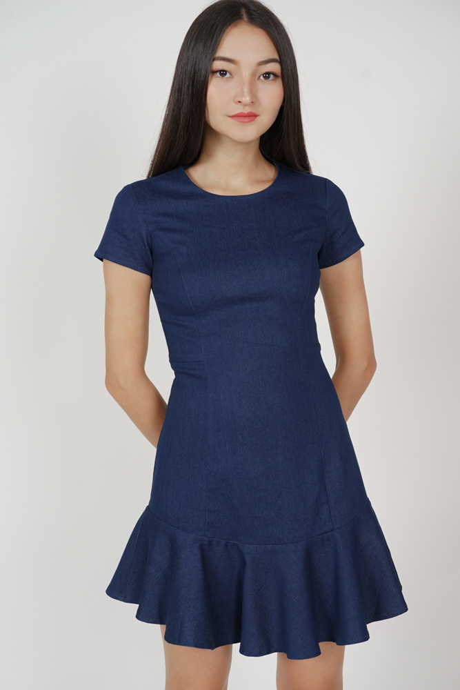 Sonya Ruffled-Hem Dress in Dark Blue