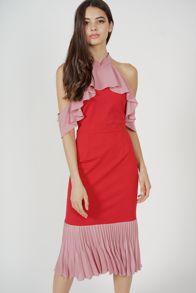 Theris Ruffled Halter Dress in Red