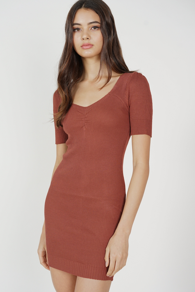 Agnea Sleeved Dress in Sienna - Online Exclusive