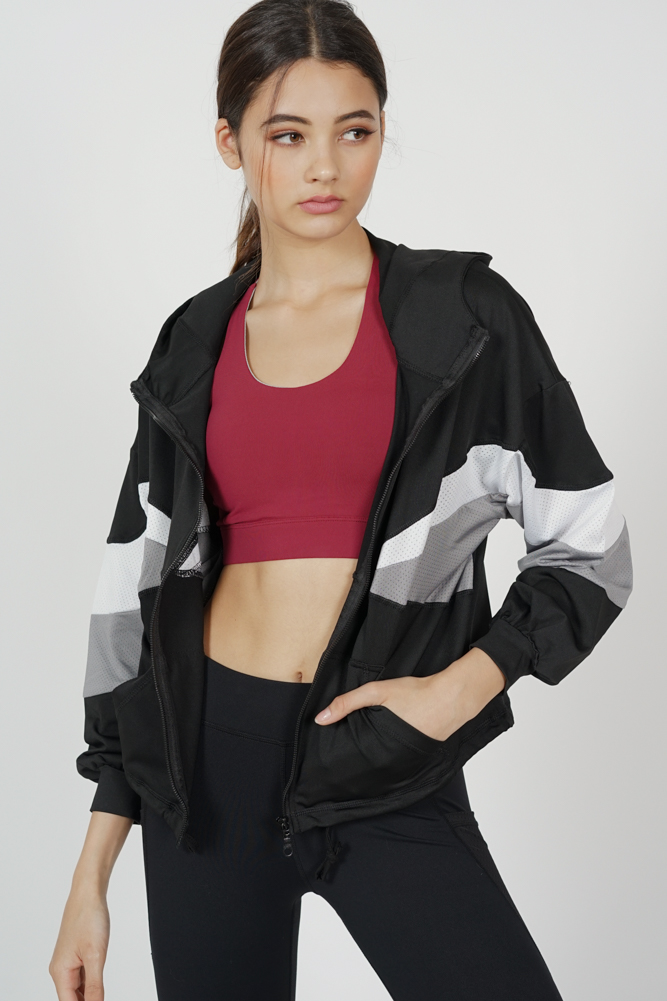Vannie Striped Sports Jacket in Black - Arriving Soon
