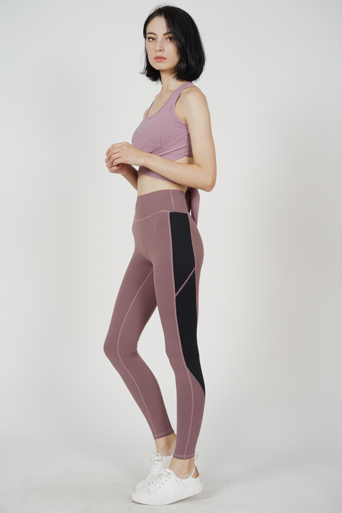 Morina Contrast Yoga Pants in Plum
