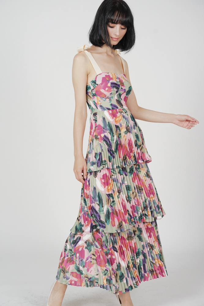 Kandira Pleated Tiered Dress in Multi