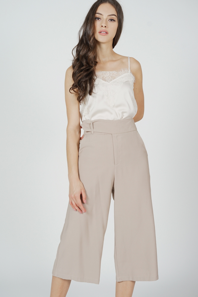 Alena Belted Culottes in Khaki