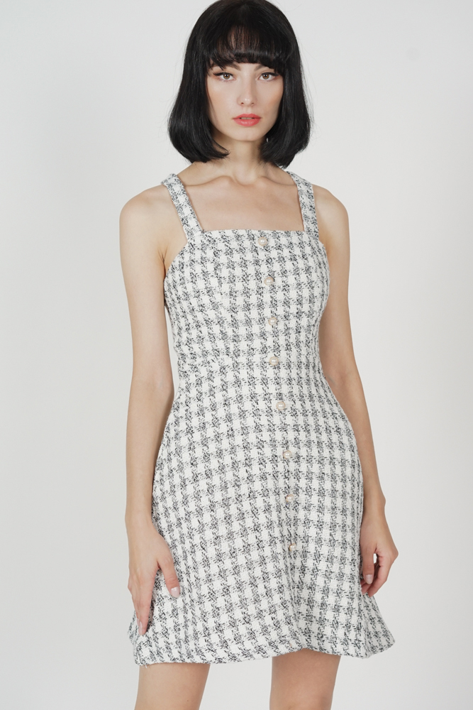 Meisha Tweed Dress in White