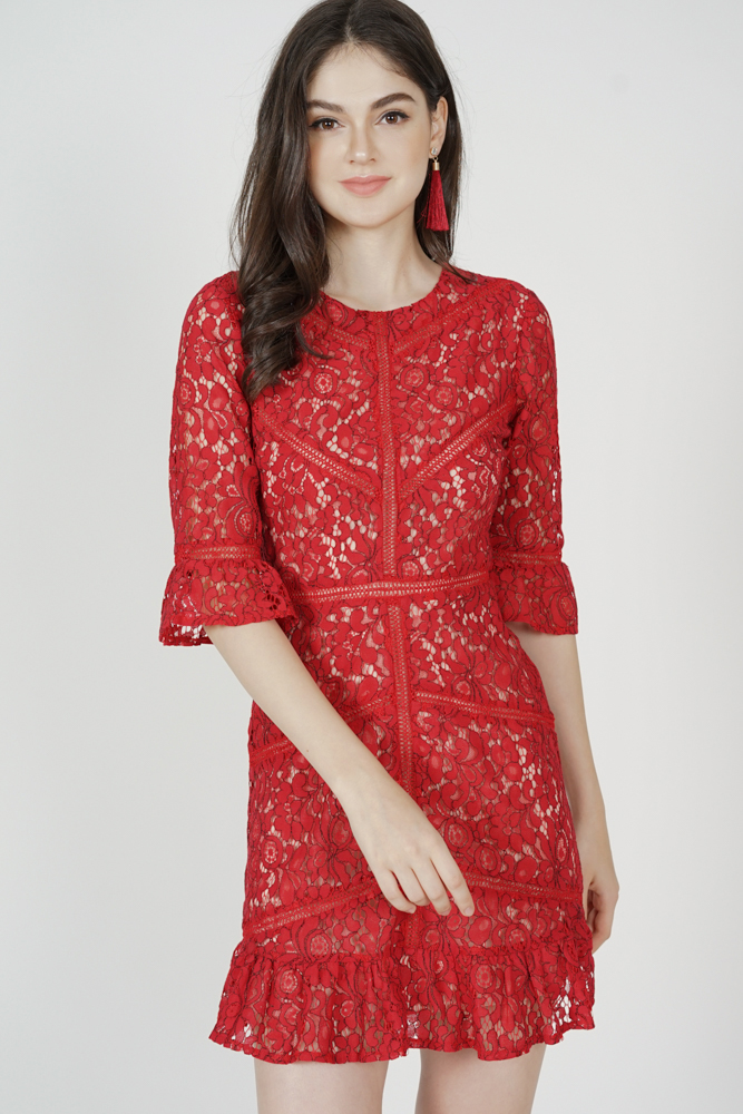 Georgia Lace Dress in Red