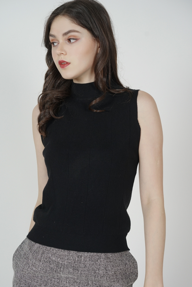 Salvia Knitted Tank Top in Black