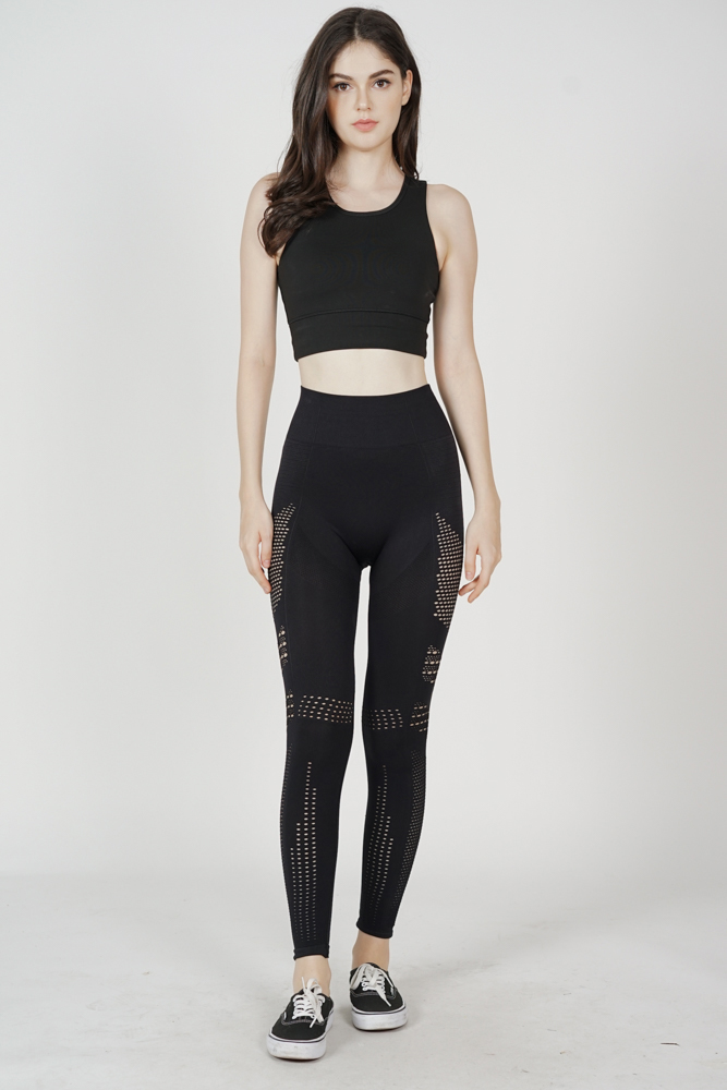 Ganya Cutout Gym Tights in Black - Arriving Soon
