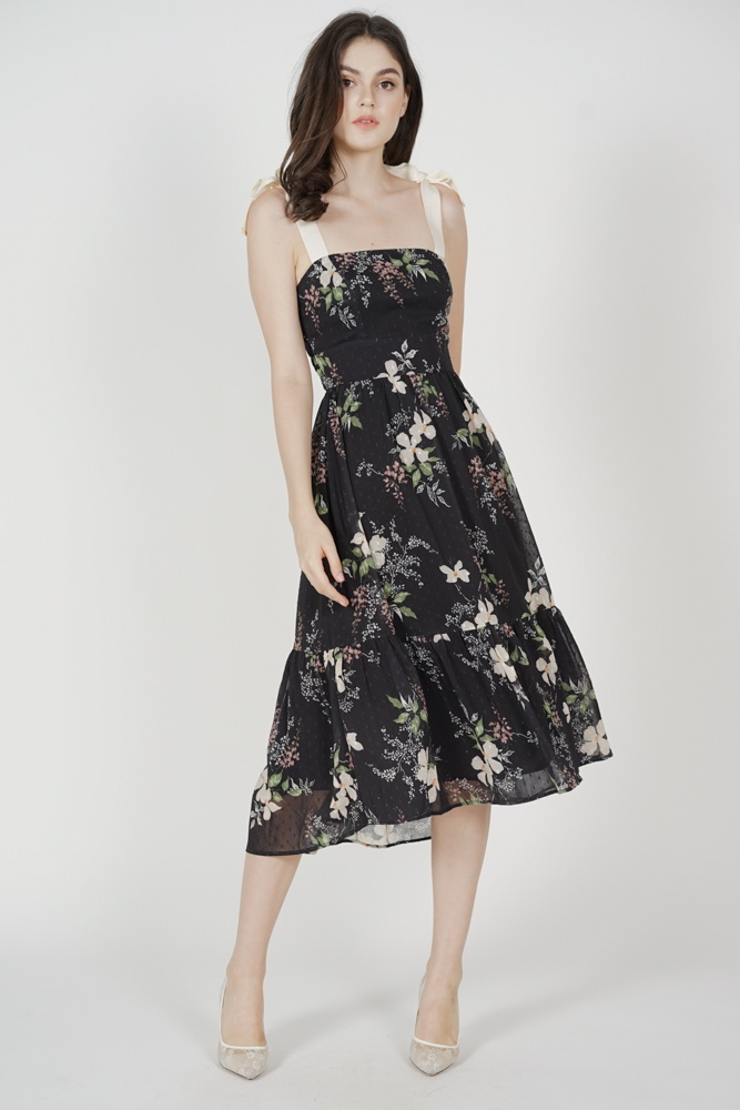 Delry Ruffled-Hem Dress in Black Floral