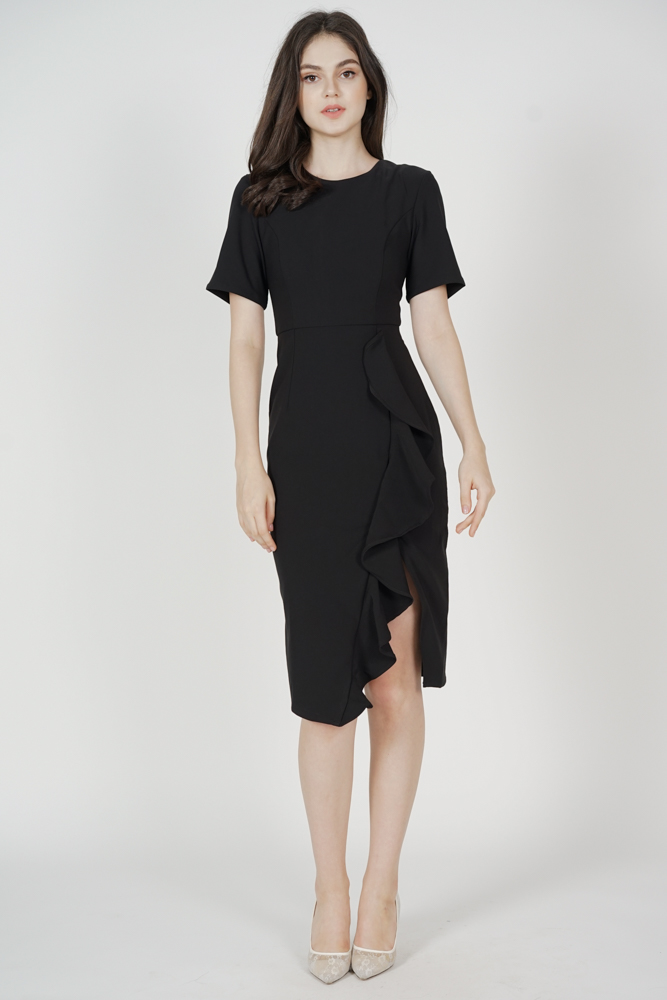 Kourtney Ruffled Dress in Black - Arriving Soon