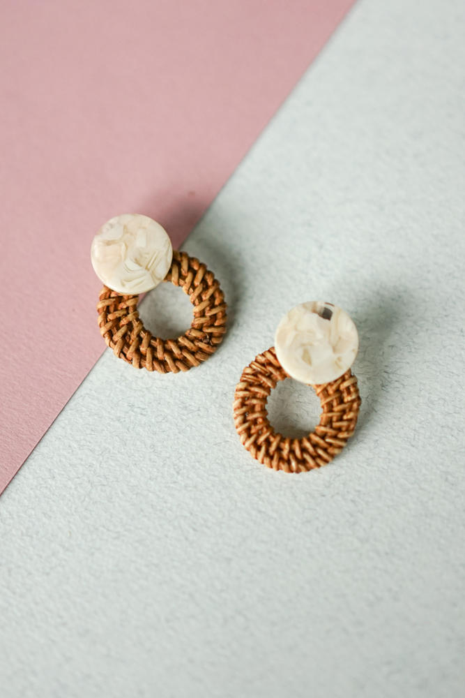 Bamboo Woven Stud in Pink - Arriving Soon