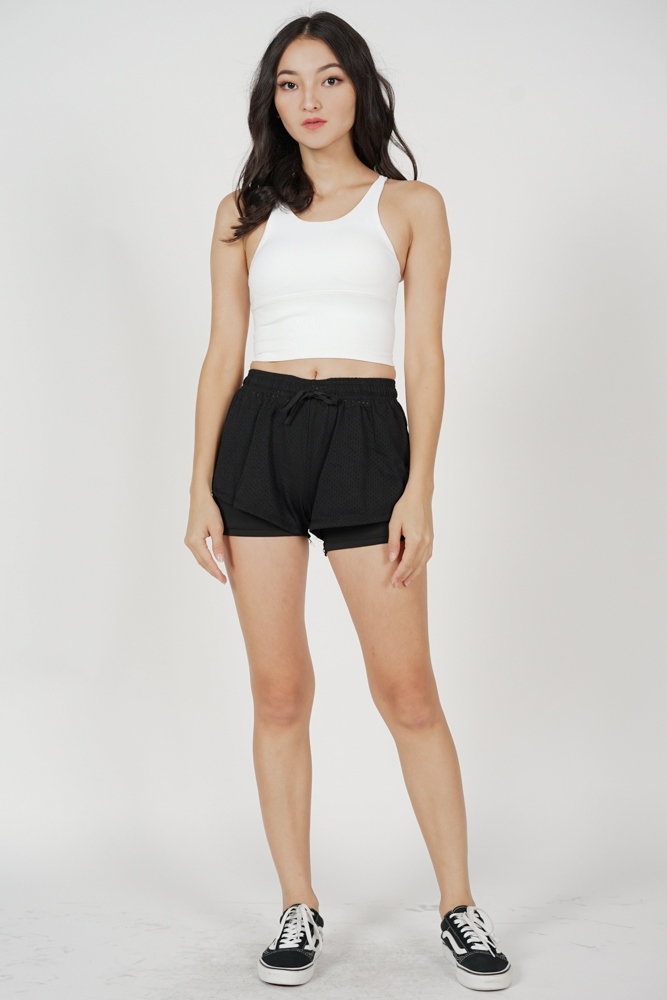 Durna Strappy Padded Crop Top in White - Arriving Soon