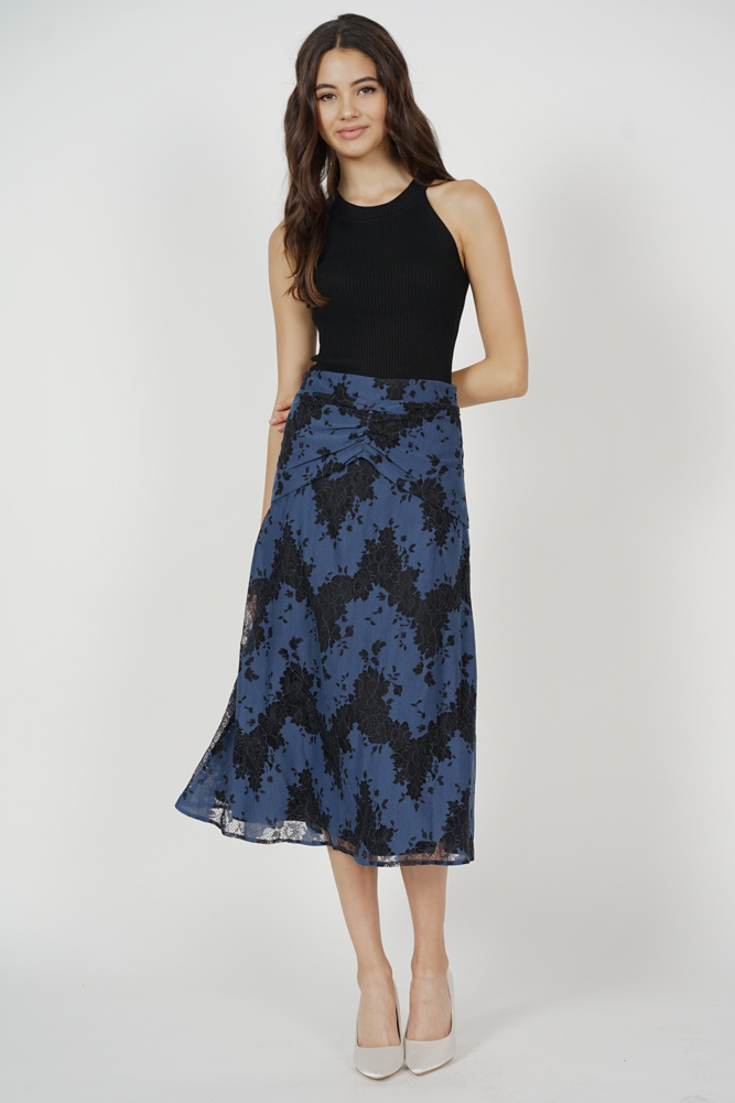 Erisea Ruched Lace Skirt in Midnight