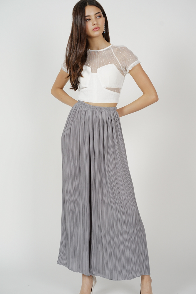Calixta Wide-Leg Pleated Pants in Grey