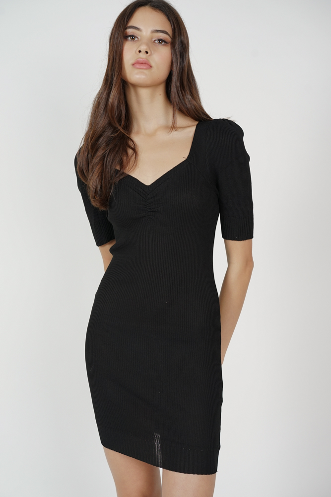 Agnea Sleeved Dress in Black - Online Exclusive