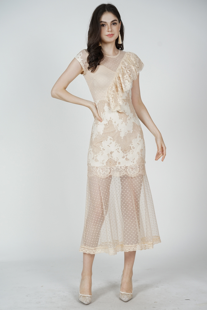 Lensie Ruffled Lace Dress in Nude