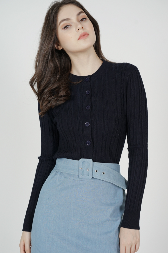 Eleste Buttoned Top in Midnight - Online Exclusive