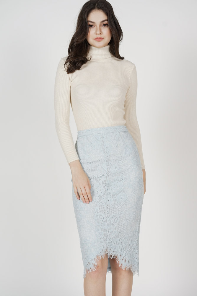 Heisley Lace Skirt in Ash Blue