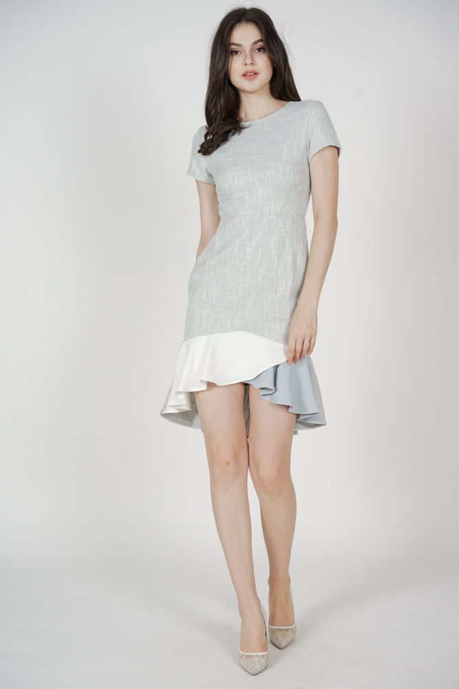 Rewna Color-Block Mermaid Dress in Grey - Arriving Soon